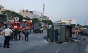Đà Nẵng: Va chạm với ô tô 7 chỗ, xe chở hàng chục chiến sĩ PCCC lật nghiêng giữa đường