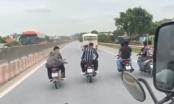 Thanh Hóa: Nhóm thanh niên không đội mũ bảo hiểm nghênh ngang cản trở các phương tiện trên Quốc lộ 1A