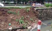 Sụt lún nghiêm trọng trên đường Nguyễn Cơ Thạch, Hà Nội