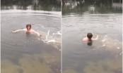 Clip: Giữa thời tiết 6 độ C, cô gái nhảy xuống hồ chỉ để lấy 50 nghìn cá cược của bạn bè khiến nhiều người bất bình