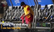 Video: Quang Hải tập nhẹ trong giờ nghỉ trận đấu với U22 Campuchia