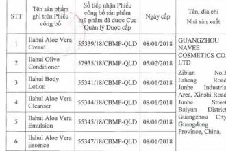 Thu hồi 6 loại mỹ phẩm của Công ty Cổ phần Quốc tế Việt Hồng