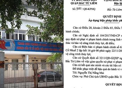 """UBND quận Bắc Từ Liêm quyết xử lý sai phạm nhưng lại """"quên"""" truy trách nhiệm lãnh đạo phường Cổ Nhuế 2?"""