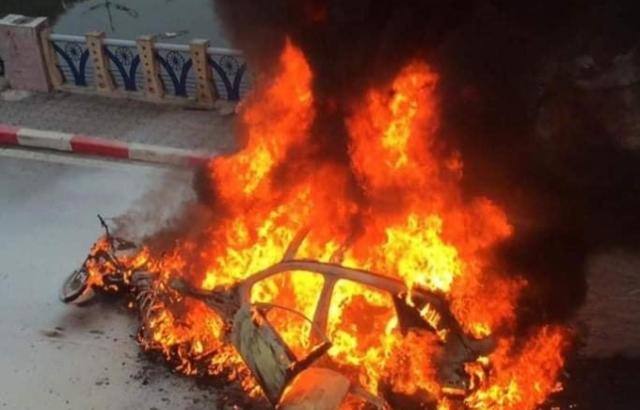Clip hiện trường vụ cháy xe trên đường Lê Văn Lương, 1 người tử vong