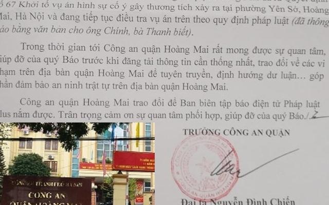 Công an quận Hoàng Mai hồi âm sau phản ánh của Pháp luật Plus về vụ cố ý gây thương tích
