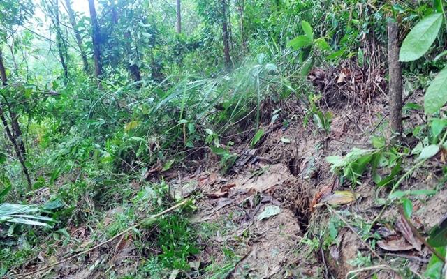 Xuất hiện vết nứt lớn trên núi ở huyện Hương Khê, nhiều hộ dân phía dưới được di dời khẩn cấp