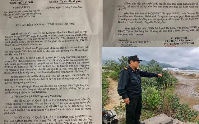Quảng Ninh: Yêu cầu huỷ bỏ hai Quyết định của Chủ tịch UBND phường liên quan đến việc xác định nguồn gốc đất