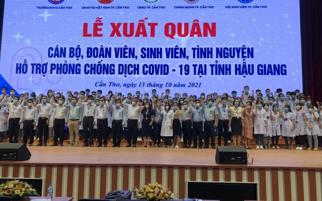100 cán bộ, sinh viên Đại học Y Dược Cần Thơ hỗ trợ Hậu Giang tiêm vắc xin Covid-19