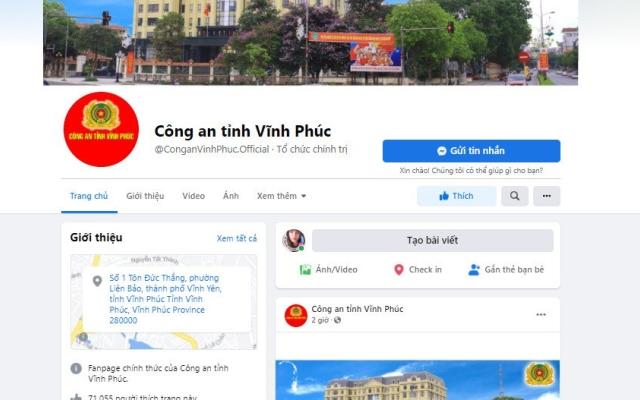 Fanpage chính thức của Công an tỉnh Vĩnh Phúc bị kẻ xấu tấn công