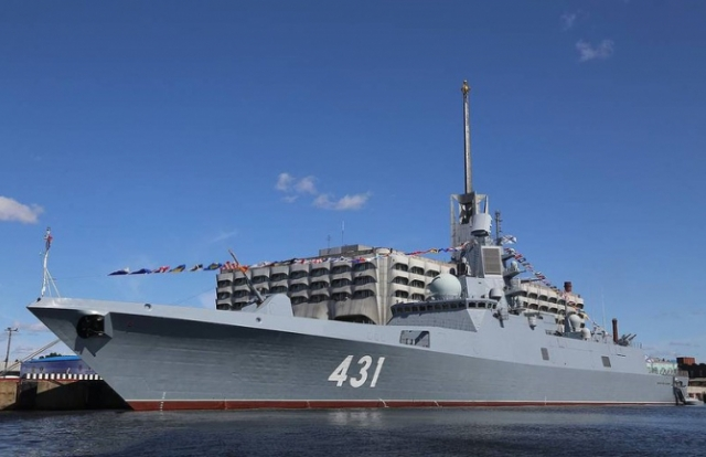 Siêu tàu mang 16 tên lửa hành trình Kalibr của Nga khoe sức mạnh trên biển