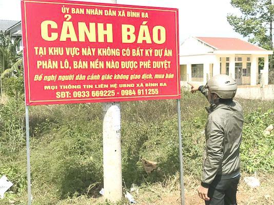 Bà Rịa – Vũng Tàu: Chính quyền gắn bảng cảnh báo tại khu vực sốt đất thuộc xã Bình Ba