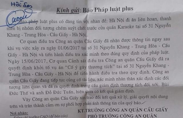 Hà Nội: CA quận Cầu Giấy khởi tố đối tượng chém người suýt chết sau phản ánh của Pháp luật Plus