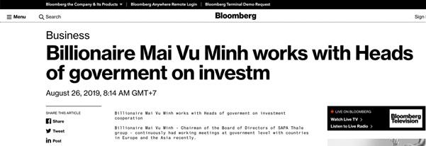 Bloomberg đưa tin tỷ phú Mai Vũ Minh làm việc với các nguyên thủ về hợp tác đầu tư