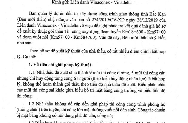 Bắc Kạn: Kiến nghị của liên danh Vinaconex – Vinadelta là thiếu cơ sở!