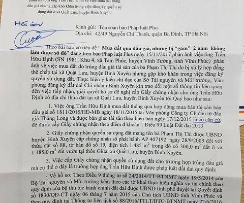 """Tỉnh Vĩnh Phúc phản hồi gấp vụ """"găm"""" hồ sơ 2 năm không làm được sổ đỏ sau khi Pháp Luật Plus đăng tải"""