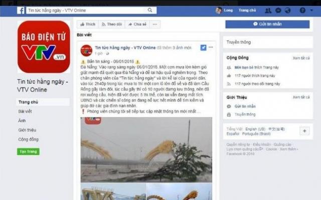 Đà Nẵng: Xuất hiện Fanpage mạo danh VTV đăng tin thất thiệt
