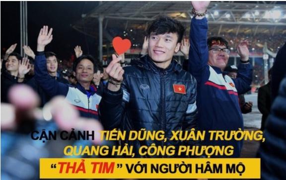 """Tiến Dũng, Xuân Trường, Quang Hải, Công Phượng đồng loạt """"thả tim"""" với người hâm mộ"""