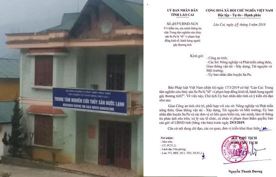 UBND tỉnh Lào Cai yêu cầu làm rõ những sai phạm tại Trung tâm nghiên cứu thủy sản Sa Pa
