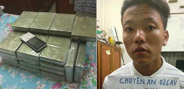 Xách thuê 30 bánh heroin ở khu vực biên giới, đối tượng người Lào bị bắt ngay tại trận