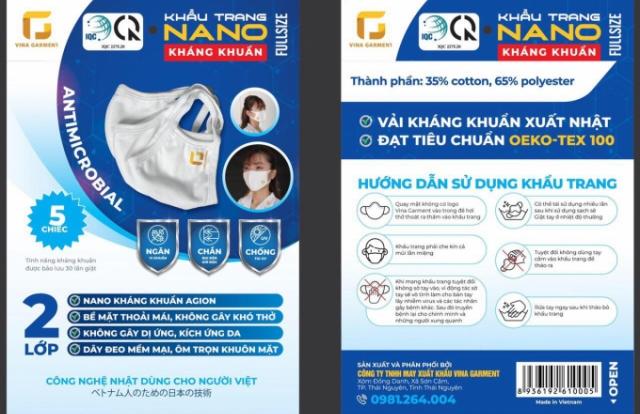 Công ty TNHH May xuất khẩu VINA GARMENT cho ra thị trường khẩu trang vải kháng khuẩn chất lượng