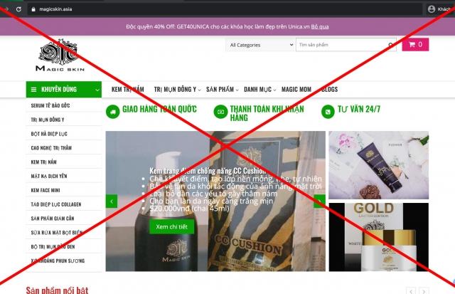 Cảnh báo hàng loạt website giả mạo thương hiệu Magic Skin