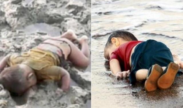 Xót xa em bé tị nạn 16 tháng tuổi chết úp mặt xuống bùn