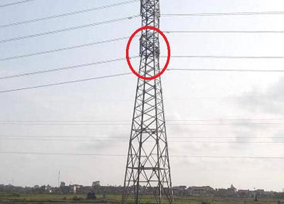 Người đàn ông nghi ngáo đá ngồi vắt vẻo cả ngày trên cột điện cao thế