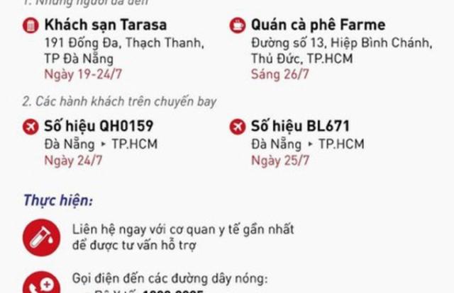Bộ Y tế truy tìm người trên 2 chuyến bay và 2 địa điểm tại Đà Nẵng và TP HCM