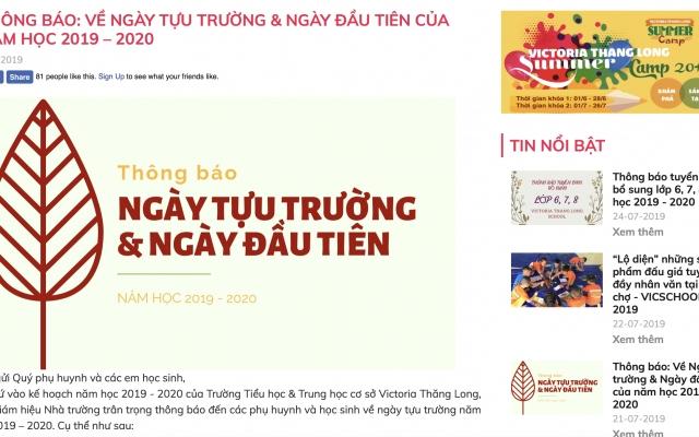 Trường Tiểu học & Trung học cơ sở Victoria Thăng Long tuyển sinh