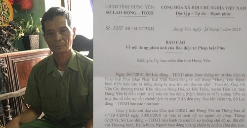 Sở LĐTBXH tỉnh Hưng Yên hồi âm Pháp luật Plus vụ bệnh binh 61% bỗng dưng bị truy thu lại tiền trợ cấp!