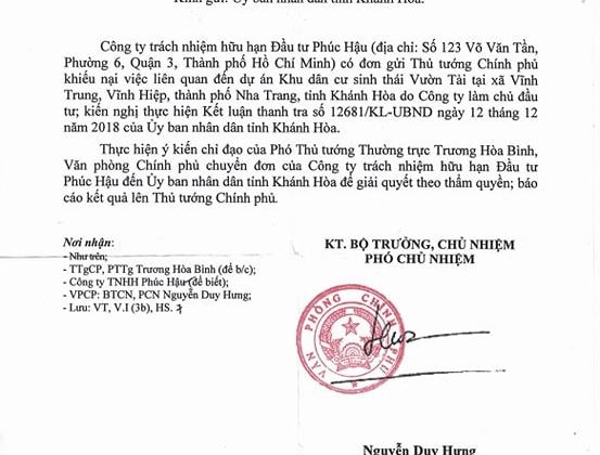 Phó Thủ tướng Thường trực Trương Hòa Bình yêu cầu UBND tỉnh Khánh Hoa báo cáo vụ Dự án Vườn Tài