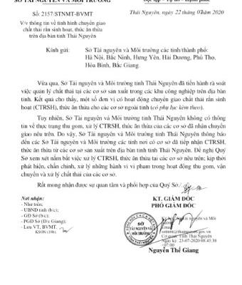 Bộ trưởng Bộ TN&MT Trần Hồng Hà chỉ đạo vụ 50 triệu kg chất thải tại Thái Nguyên