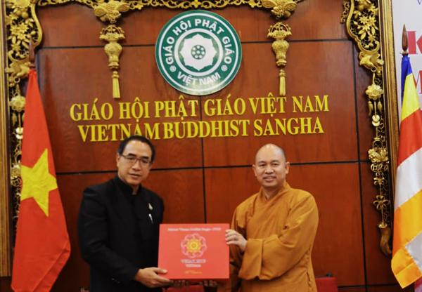 Đại sứ Đặc mệnh Toàn quyền Vương quốc Thái Lan tại Việt Nam làm việc với giáo hội Phật giáo Việt Nam